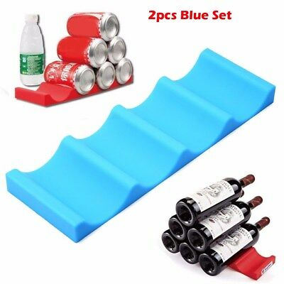 2pcs Kitchen Fridge Can Holder Beer Wine Rack Mat Stacking Tidy Tool Silicone