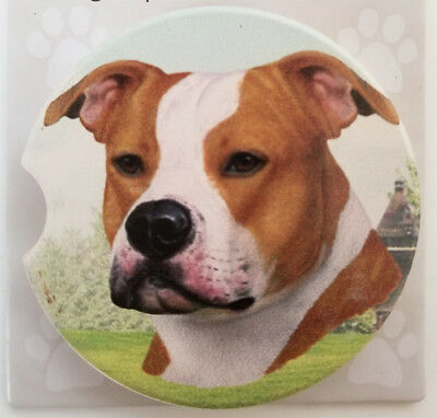 """Staffordshire Terrier Absorbent Car Coaster Stoneware 2.5"""" Diameter by E&S Pets"""