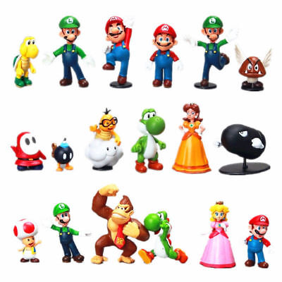 18pcs Super Mario Bros Luigi Yoshi Friend Toys Figure Figurine Set Cake Topper
