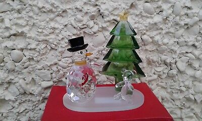 """Galway Living Large Crystal Snowman Cristmas Scene MG05 New in Box H 5"""" × 4,25"""""""