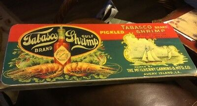 Tabasco Brand-Gulf Shrimp-Wood Sign-Vintage Look-11 X 4.75-Chain-Excellent-LOOK