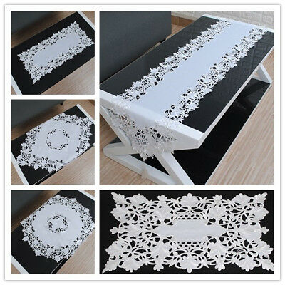 White Embroidered Lace Table Cloth Cover Topper Floral Tablecloth Wedding Party
