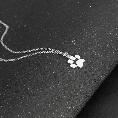 Women Lovely  Pet Dog Cat Paw Print Pendant Chain Necklace Gift Jewelry Z