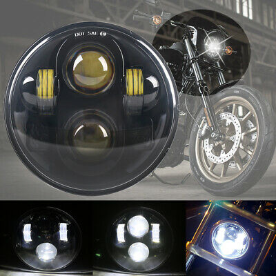 1 Pc 5-3/4 5.75 Inch Projector LED Headlight Black for Harley Davidson