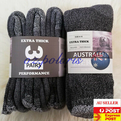 6 Pairs Size 6-10 Heavy Duty Australian Merino Extra Thick Wool Work Socks Grey