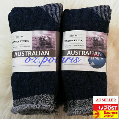 6 Pairs Size 6-10 Heavy Duty Australian Merino Extra Thick Wool Work Socks