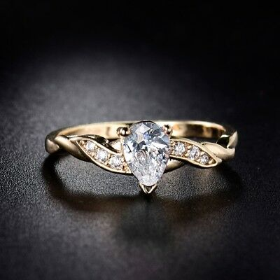 18k Yellow Gold Filled Pear Cubic Zirconia Stunning Women Engagement Rings 5-9