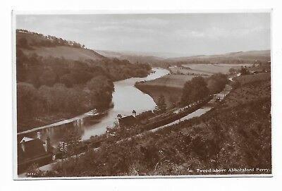 River Tweed above Abbotsford Ferry Selkirkshire Vintage Real Photo Postcard 489H