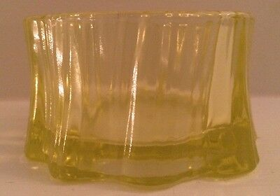 Vintage Vaseline Glass Candle Holder Or Trinket Dish