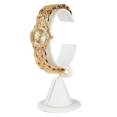 Vertical White Faux Leather Watch Stand - Case of 25