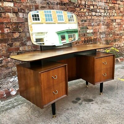 Vintage Mid Century G-Plan Curved Dressing Table E.Gomme Tola & Black Retro MCM