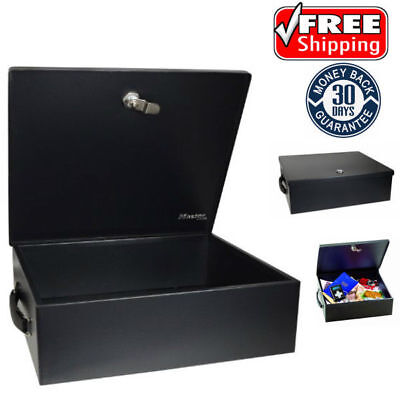 Fireproof Security Chest Large Cash Safe Keys Waterproof Lock Box Fire Resistant