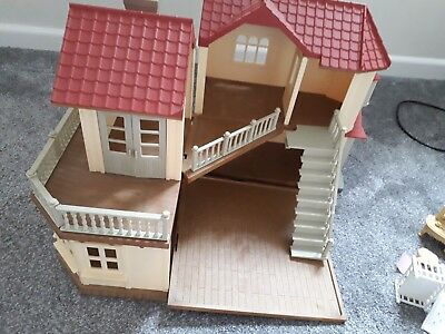 Sylvanian Families Beechwood Hall with Furniture and 3 families. Working lights