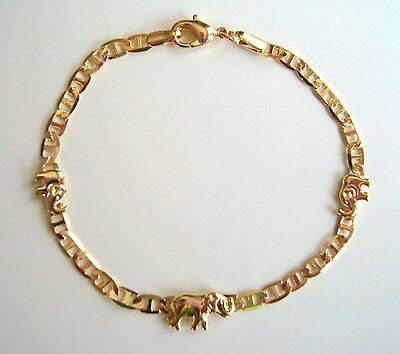 "18K Gold Plated Elephant Gucci Bracelet 7,5"" For Good Luck / Pulsera De Elefante"