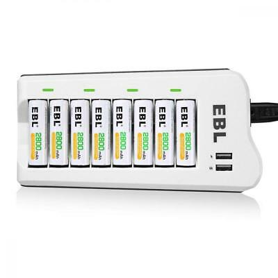 **EBL Upgraded 8 Bays AA AAA Battery Charger with USB Ports and 8 Pack 2800mAh**