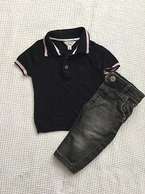 River Island Baby Boys 0-3 Months Outfit, Bundle Distressed Jeans, Polo Top