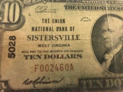 1929 $10 Union National Bank Sistersville West Virginia WV Banknote F0002460A