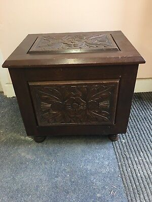 A Beautiful Vintage Carved Wooden Storage Chest