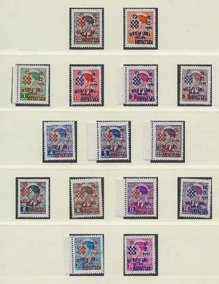 Croatia 1941 - NDH - 3rd Provisional Issue - Full Set 15 Values MNH - Attested
