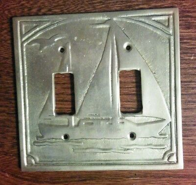 Vintage Nautical / Sailboat Double Toggle Brass Light Switch Plate Cover
