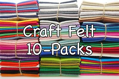 "Wool Blend Craft FELT SQUARE COLOUR PACKS: 9"" / 23cm EN71 Standard (10- packs)"