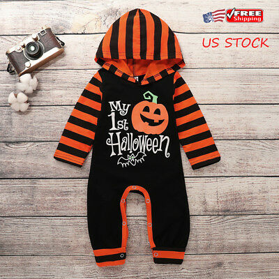 Newborn Baby Girl Boy Striped Pumpkin Jumpsuit Bodysuit Halloween Clothes Outfit