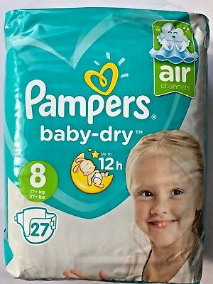 Pampers Baby Dry Size 8 Sample x2 Nappies Diapers Worldwide Shipping Discrete