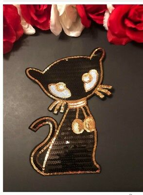 Sequin Siamese Cat Animal Gold Black Kitty Fashion Iron on Patch DIY Large