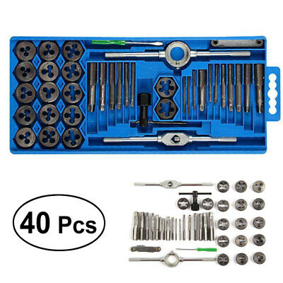 40pcs Metric Wrench Tap And Die Set Cuts M3-M12 Bolts Hard Case Engineers Kit UK