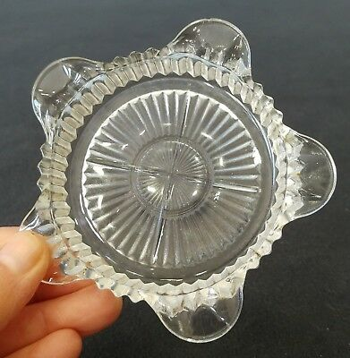 Vintage Pressed Glass Ashtray Round Sunburst Mid Century