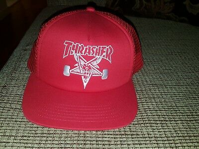 a74834471e3 THRASHER MAGAZINE EMBROIDERED SKATE GOAT Skateboard Trucker Hat RED ...