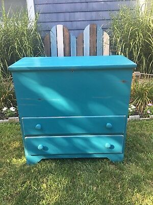1830s-1840s New England Blue Painted Solid Pine Blanket Chest over Two Drawers