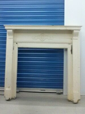 Antique Shabby Chic Chippy Fireplace Mantel Vintage