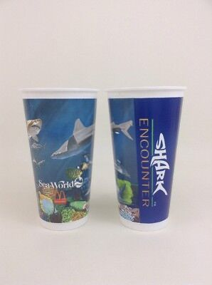 Seaworld Shark Encounter McDonalds Promo Cup Vintage 90s Lot of 2
