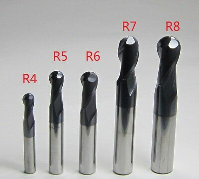 5PCS Ø 8mm 10mm 12mm 14mm 16MM HRC45 CNC Carbide Ball Nose End Mills for steel