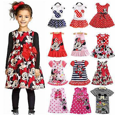 Kids Baby Girls Dress Cartoon Minnie Mouse Summer Princess Vest Top Party Casual