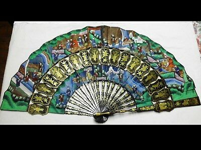 antiker handbemalter asiatischer Fächer-100 faces-handpainted asian lacquer fan