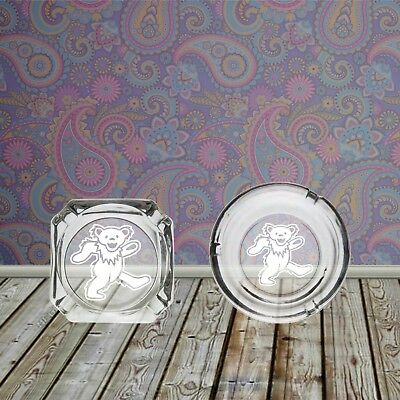 Grateful Dead Dancing Bears Square or Round Sandblasted Etched Glass Ashtray