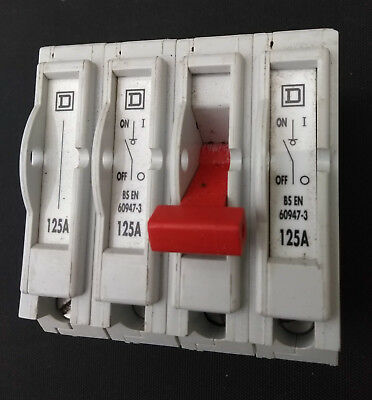 Square D QO4100MN 125A 4 pole Main Switch Disconnector  BSEN60947-3