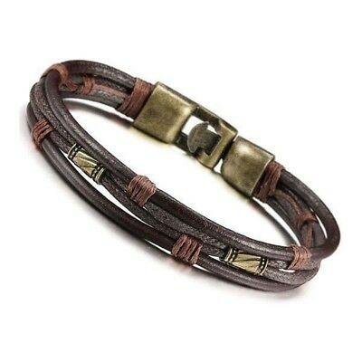 Men's Leather Bracelet Tribal Braid Cuff Hand Chain Bracelet Leather Cord L Y5C2