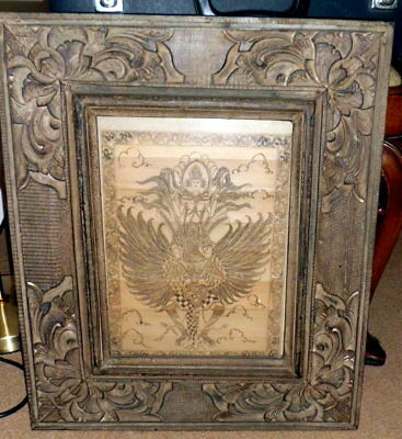 Signed Bali, Indonesian Garuda bird engraved on timber with contemporary frame