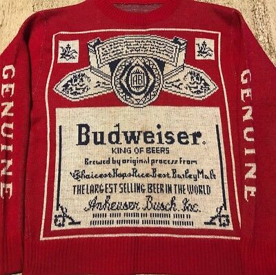 Mens Vintage 70's 80's Budweiser Advertisement All Over Print Sweater