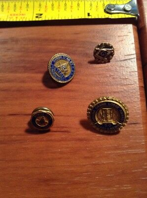 Vintage Mason Pin 4 lot, Akron OH Veteran, Acadia Club, 50 years Grand Lodge Awd