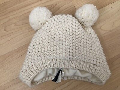 717822d296f Baby Gap Girls 18-24 Mo M-L Cable Knit Ivory frost Winter Bear Puff Ball