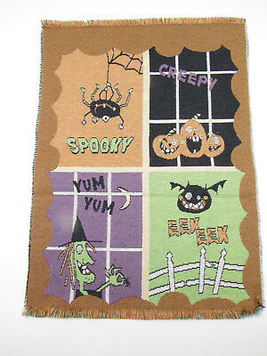 Halloween Pumpkin Witch Bat - Unfinished Tapestry Fabric Place Mat Piece 13x18