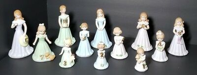 Enesco Growing Up Birthday Girl Figurines From 1 Through 12