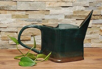Vtg Ceramic Art Pottery Watering Can-Decorative Clay Large Spout Chunky Pitcher