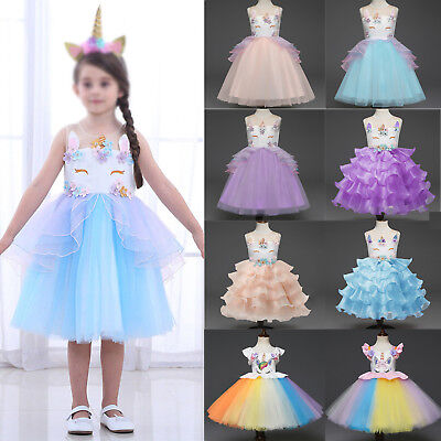 Flower Girl Kids Tutu Dress Unicorn Princess Party Wedding Bridesmaid Tulle Prom