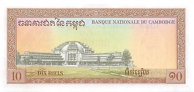Cambodia  10  Riels  ND. 1972  P 11d  Sign. # 12  Uncirculated Banknote K818S
