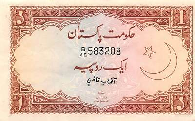 Pakistan  1  Rupee  ND. 1973  P 10a  SEries  B/45  Circulated Banknote K818S